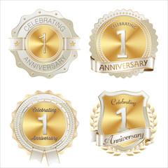 Gold and White Anniversary Badge1st YearCelebrating