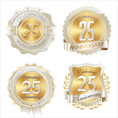Gold and White Anniversary Badge 25th Years Celebrating