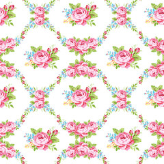 Floral pattern with garden pink roses