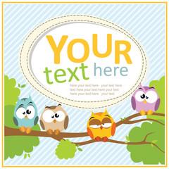 Card with cartoon owls