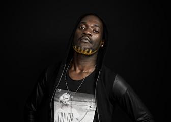 African man portrait wearing hoodie