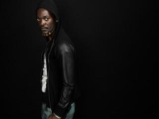 Cool african man portrait wearing hoodie