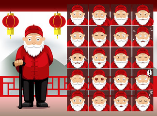 Chinese Old Man Cartoon Emotion faces Vector Illustration