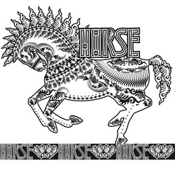 patterned silhouette of a running horse, monochrome