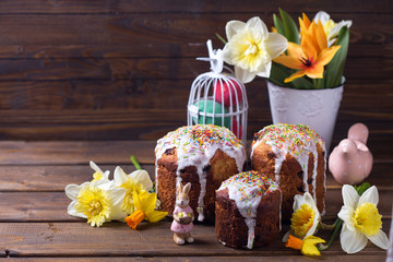 Colorful Easter cake, flowers and Easter decorations