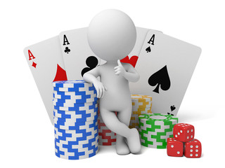 A 3d people with some cards chips and dices. 3d image. Isolated white background