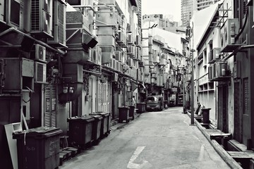 Fine Art Photography Singapore, A back alley of City, Singapore Black and white