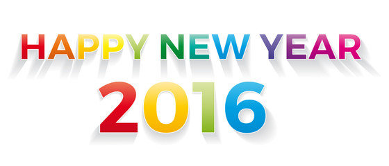 Happy new year 2016. Vector banner with the text colored rainbow