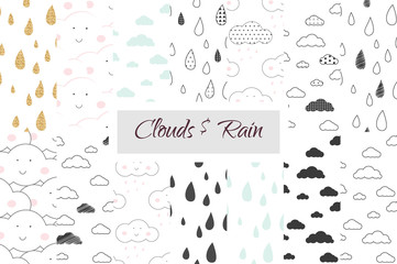 Rain and clouds kids seamless pattern set. Scandinavian simple white and black minimalistic style. For fabric textile print, wallpapers, bed linen, kids room decor design. Rain drops and sky for baby.