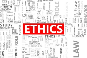 Ethics word in tag cloud, Morality concept, Vector graphics