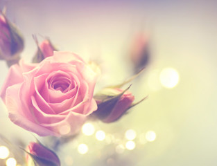 Beautiful pink rose. Vintage styled card design