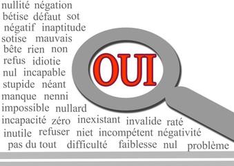 ensemble de mots négatif,sur contraire,loupe,OUI,positif.