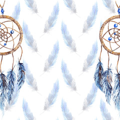 Watercolor ethnic tribal hand made feather dreamcatcher template pattern texture background