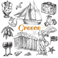 hand drawn travel set Greece