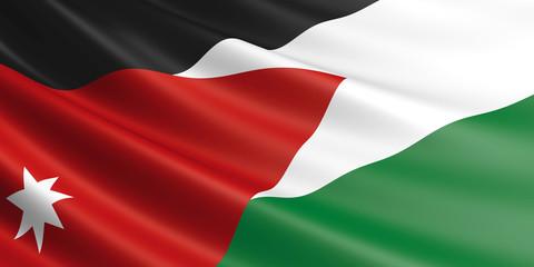 Flag of Jordan waving in the wind.