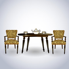 two chairs, table, teapot, leopard, tea cups - vector illustrati