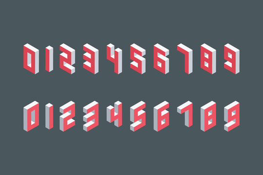 Collection of the isometric numbers. Three-Dimensional elements. Vector illustration.