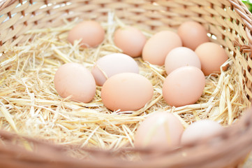 Photo closeup of basket with eggs on market
