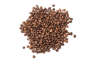 Pile of roasted coffee beans isolated on white