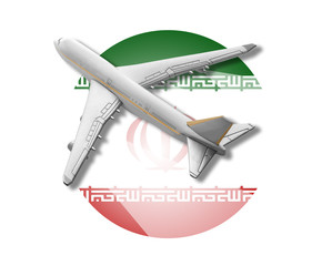 Plane and Iran flag.