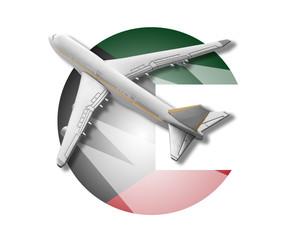 Plane and Kuwait flag.