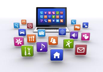 ノートパソコンとアプリ
