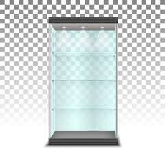 Empty glass cabinet with shelvesl, vector