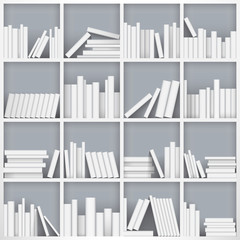 Library bookshelf full of books. Vector Illustration