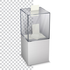 Vote ballot with box. Vector illustration