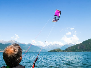 Kitesurfing action at the lake