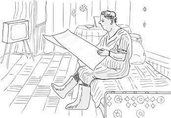 An inquisitive woman with a newspaper in his hand.Caricature.