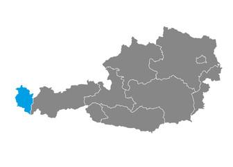 Vorarlberg highlighted on Austrian map
