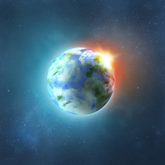 Planet earth with sun rising from space, vector image