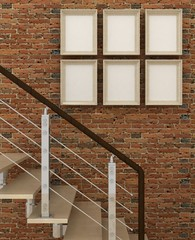 Empty picture frames in classic interior background with stairs on the decorative brick wall with wooden floor. Copy space image. 3d render