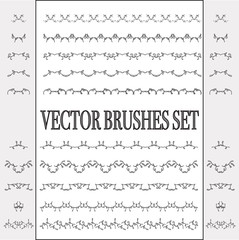 Vector set of seamless ornate and floral brushes. Borders can be used for frames, patterns and wreaths. Elegant lace lines. Decorative elements for design and scrapboocking.