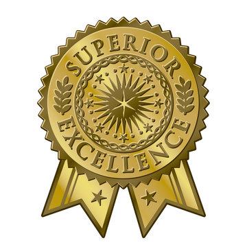 Gold certificate award seal, superior excellent achievement