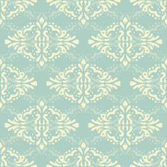 Floral damask seamless lace pattern. Vintage seamless baroque wallpaper. Vector illustration EPS 10