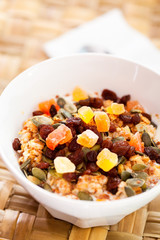 Cereal with dried fruits and nuts