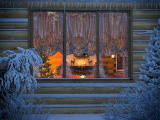 3D render of a New Year's interior from a house window from a felling. A foreshortening from the snow-covered yard with fir-trees and bushes