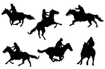 Horse Silhouette Collection - Detailed silhouettes of horses and their riders