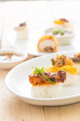 spicy streaky pork sushi