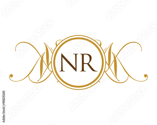 quotnr luxury royal elegant initial logoquot stock image and