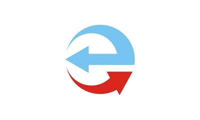round arrow letter E vector logo