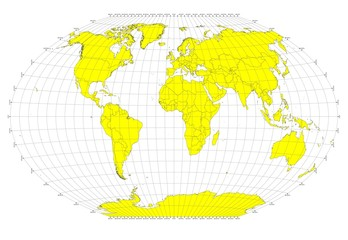 World Sphere - No Labels - Gray Grid Lines - Yellow Countries
