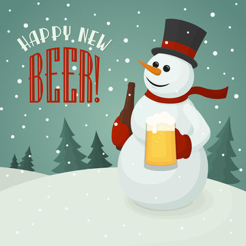Snowman with beer mug. Vector christmas poster with snowman holding craft beer bottle and happy new beer label. Vintage winter card