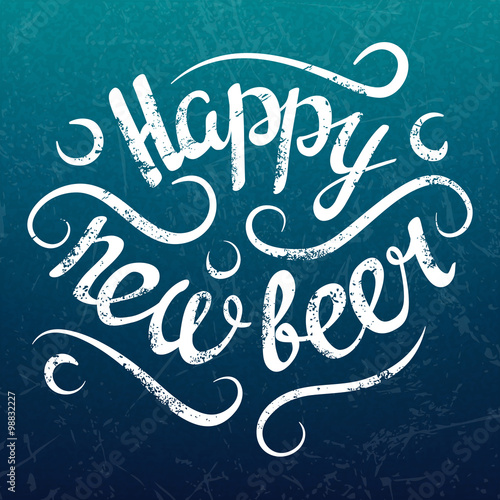 vector happy new beer winter poster vintage new year lettering on retro grunge background