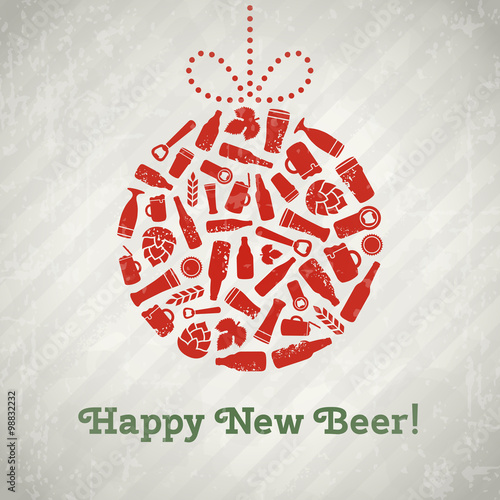 Vector Christmas Ball Beer Poster Happy New Tagline Composed Of Craft