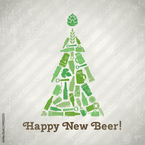 vector christmas tree beer poster happy new beer tagline christmas tree made of craft