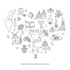 Set of hand drawn Israel icons, Jewish sketch illustration, doodle elements, Isolated national elements made in vector. Travel to Israel icons heart shaped for cards and web pages