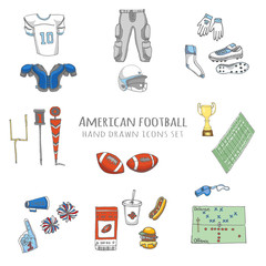 Hand drawn doodle american football set Vector illustration Sketchy sport related icons football elements Cheerleading
